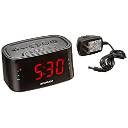 AM/FM clock radio with large LED Digit display, Digital Tuning, Black