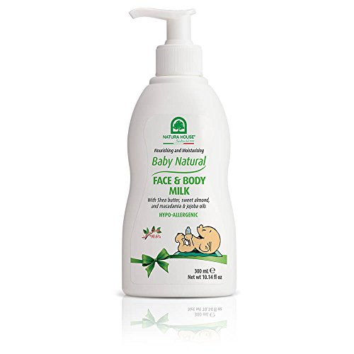 Natura House Baby Natural Face and Body Milk - Light Fragrance - Baby Moisturizer with Shea Butter, Almond, Macadamia and Jojoba Oils - Made in Italy - Hypoallergenic, Dermatologist Tested, 10.14 oz.