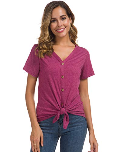 (Women's Button Down Shirts Tie Knot Casual Blouse Tops Sexy V Neck Wine Red XXL )