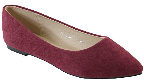 Bella Marie Angie-53 Women's Classic Pointy Toe Ballet Slip On Suede Flats,7.5 B(M) US,Burgundy