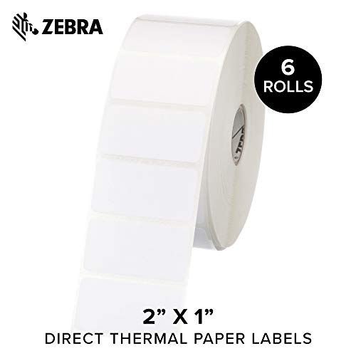 Zebra - 2 x 1 in Direct Thermal Paper Labels, Z-Perform 2000D Permanent Adhesive Shipping Labels, Zebra Desktop Printer Compatible, 1 in Core - 6 Rolls ()