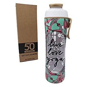 50 Strong BPA Free Gym Water Bottle with Ice Guard Flip Top Cap & Carry Loop – Cute Designer Prints – Perfect for Men, Women, Sports & Workout – 24 oz. – Made in USA