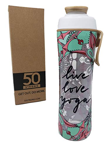 Price comparison product image 50 Strong BPA Free Gym Yoga Water Bottle with Ice Guard Flip Top Cap & Carry Loop - Cute Designer Prints - Perfect for Men,  Women,  Sports & Workout - 24 oz. - Made in USA (Yoga Love,  24 oz.)