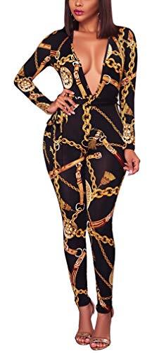 - Lunaya Women Gold Chain Print Tunic Sheath Bodycon Long Jumpsuits Bodycon Clubwear Gold Chain Black S