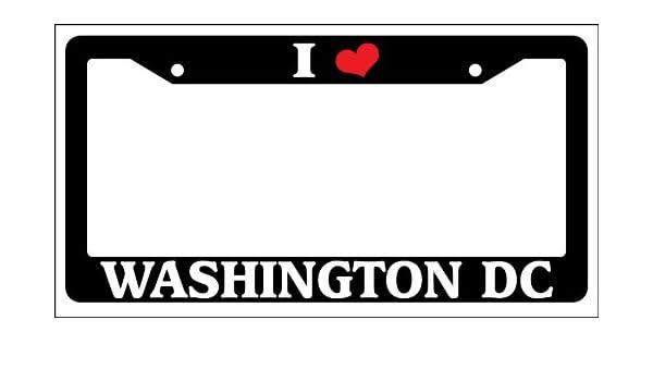 "Black License Plate Frame /""I Heart Washington DC/"" Auto Accessory Novelty"