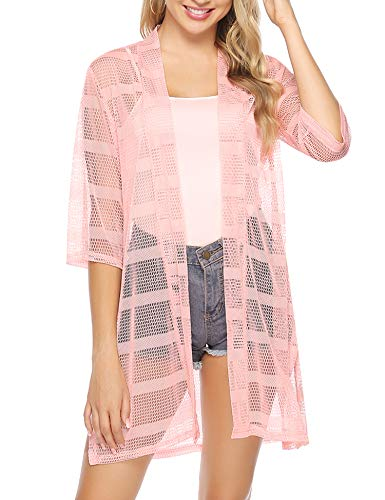 Mesh Draped - Aiboria Women 3/4 Sleeve Lightweight Mesh Sheer Open Front Cardigan (Pink,XL)
