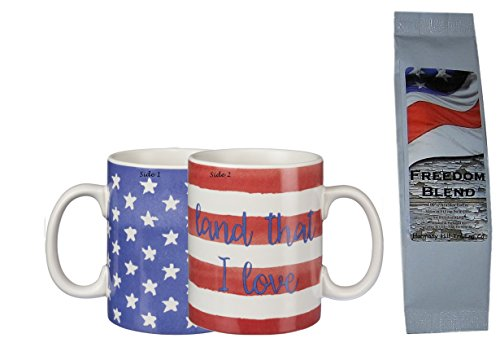 Stars Stripes Land that I Love Patriotic 2-Sided Mug with Freedom Blend Coffee Gift Set Bundle (2 Items)