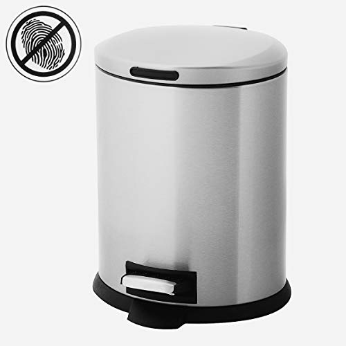 (Home Zone 5 Liter Small Trash Can With Lid and Foot Pedal Removable Bin Stainless Steel Garbage Can Oval Waste)