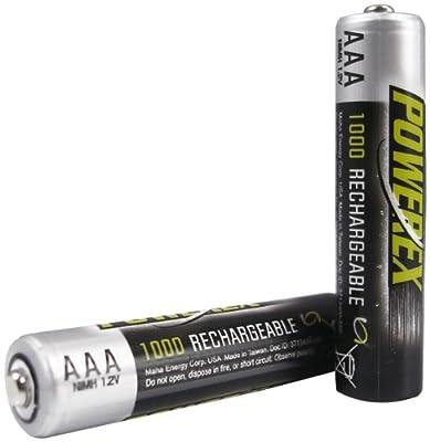 Powerex AAA HEAVY-DUTY 1000mAh Rechargeable NiMH Batteries - 2 Batteries Per Pack