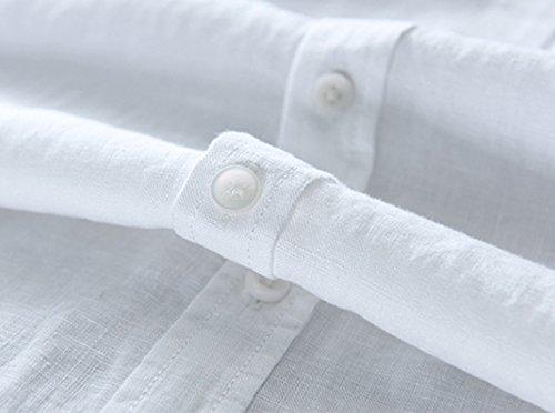 Di Camicia Maniche Lunghe Icegrey Da Bianco Lino Uomo Spiaggia Camicie A HW2IED9