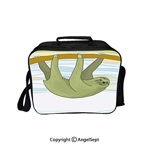 Travel Picnic Lunch Box Wide Open Lunch,Tropical Habitat Jungle Mammal on Branch Oceanic Wavy Exotic Nature Decorative Army Green Light Blue Yellow 8.3inch,Lunch Bags For Unisex - Backpack Habitat Nylon