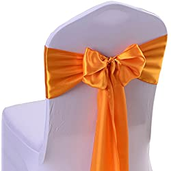iEventStar Satin Sash Chair Bow Cover Wedding Banquet Party Decoration (10, Orange)