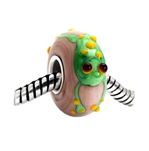 J&M 3D Handmade Green Frog Murano Glass Charm Bead for (Pandora Murano Beads)