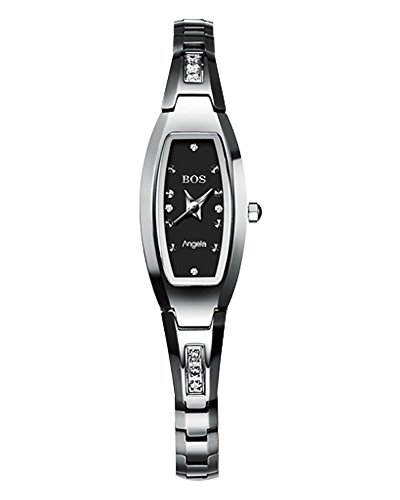 (BOS Women's Quartz Watch Crystal Accented Silver Tone Stainless Steel Bracelet Gift Wrist)