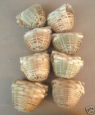 Finch Bird Nests - Finch Bird Bamboo Covered Bird Nest Lot of 8 -- Small