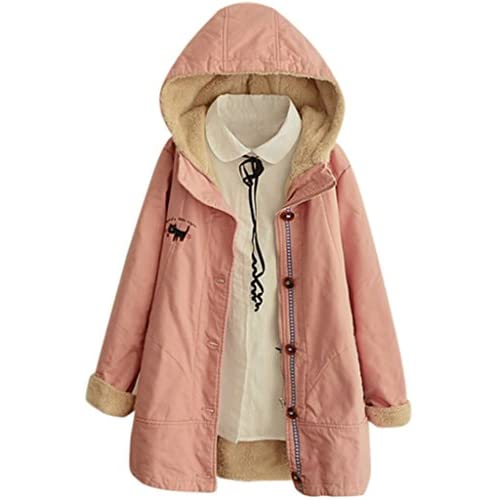 Hot Aza Boutique Women's Hooded Single Breasted Cat Embroidery Fleece Winter Coat for cheap