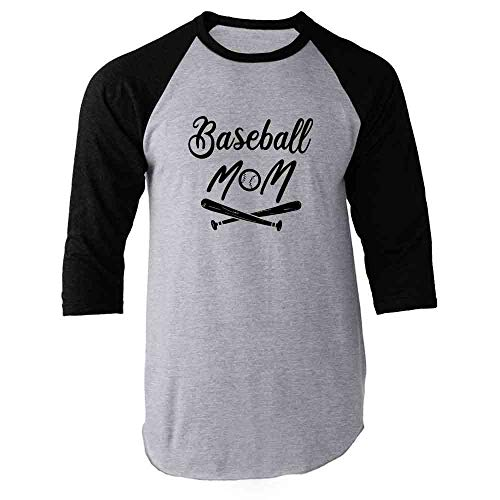 (Baseball Mom Team Player League Mother's Day Black M Raglan Baseball Tee Shirt)