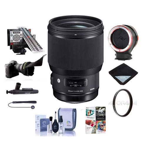 Sigma 85mm f/1.4 DG HSM Art Lens for Sony E-Mount Cameras, Black - Bundle with 86mm UV Filter, LensAlign MkII Focus Calibration System, Peak Lens Changing Kit Adapter, Software Package, and More