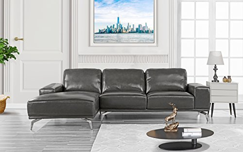 Divano Roma Furniture - Modern Real Leather Sectional Sofa, L-Shape Couch w/Chaise on Left (Dark Grey)