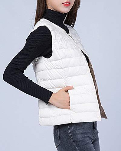 Blanc Vestes Hiver De Pour Manches Packable Femmes Veste Manteau Sans Feather Zhuikuna Chaud Sport Gilet 4wqFc565f