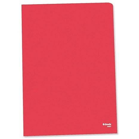 Esselte 60833 - Confezione di 25 cartelline in plastica trasparente, formato A4, con apertura laterale, colore: Rosso Esselte Ltd