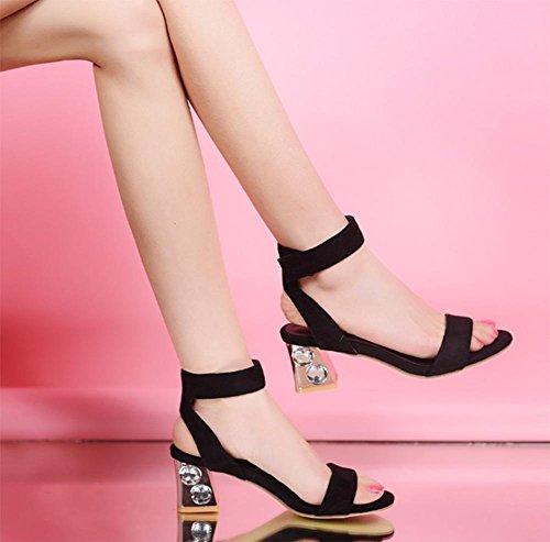 Sommer hochhackigen Sandalen Frauen Kristallschuhe mit dick mit weiblichen Sandalen Black
