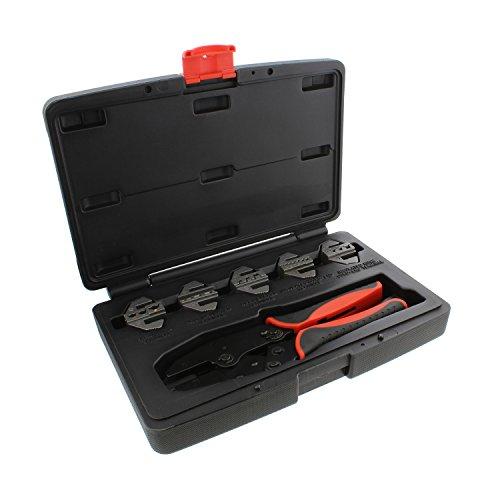 ABN Quick-Change Ratchet Crimper Pliers & Die 6-Piece Crimping Tool Kit - Insulated, D-Sub, Barrel, More Crimp Set