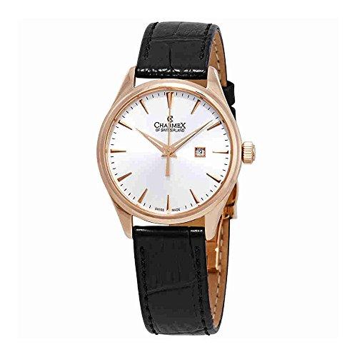 Charmex White Dial Black Leather Ladies Watch 6381