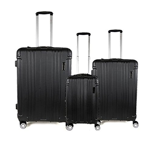 Set of 3 Luggage Set Travel Bag ABS Trolley Spinner Suitcase Lightweight Black
