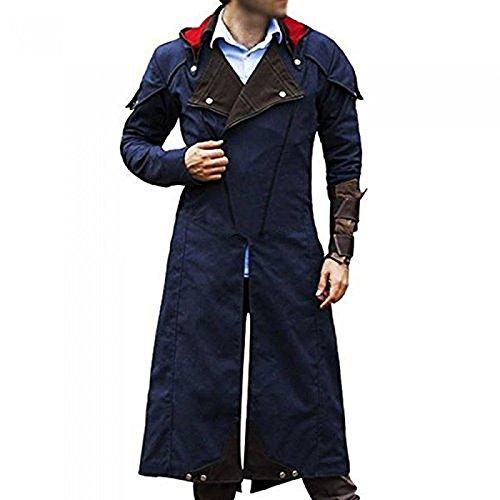Cosplay Costume Denim Cloak Assassin Creed Arno Dorian Dan Jeannotte Coat with Detachable Hood (MED-Jacket CHEST-46)