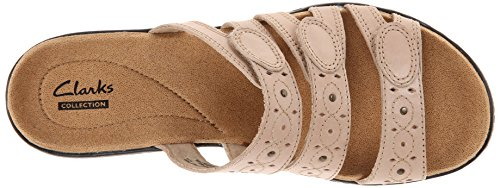 Clarks Womens Leisa Cacti Slide Sandal, Nude Leather, 8 W US