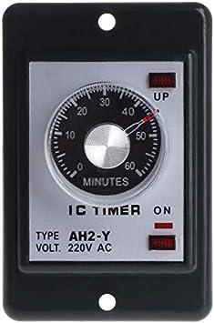 60 minutos yqaae Color : - 0-60 segundos//minutos de encendido Temporizador de retardo de rel/é con la base del z/ócalo de CA 220V AH2-Y cambiar hora