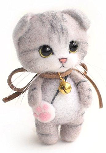 羊毛フェルト 千桜手作りDIY羊毛フェルト猫セット材料道具キット キーホルダー素材付き (スコティッシュフォールド猫)