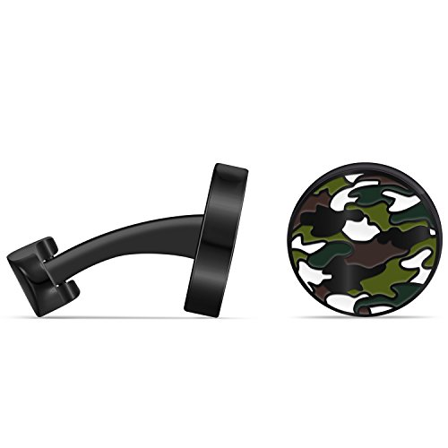 Caperci Round Black Green Hunting Camouflage Camo Wedding Business Cufflinks for Men Shirt