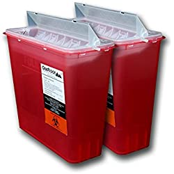 OakRidge Products Sharps and Biohazard Disposal Container with Horizontal Drop Lid, 5 Quart Size (Pack of 2)