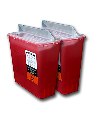 OakRidge Products Sharps Disposal Container for 5 Quart Size with Touchless Disposal (Pack of 2) ()
