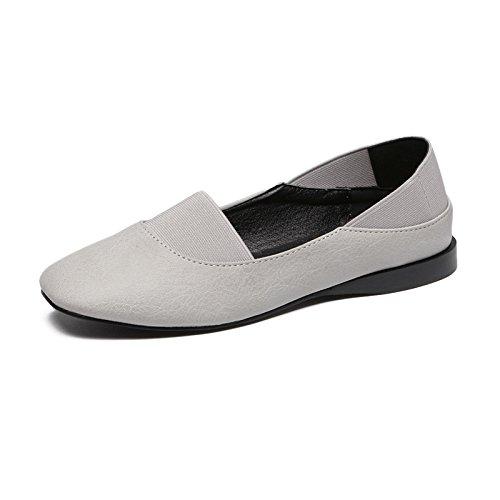 Femeninos luz Redonda Mujer Casual Calzado Zapatos Zapatos Plana Calzado Lazy Gris de Baja Qiqi Xue Bones Plano con de con Solo Cabeza EYPUqwR