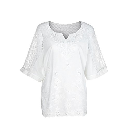 (GOWOM Women Summer O-Neck Short Sleeve Hollow Out Solid Casual Blouse Top T-Shirt (White,X-Large))