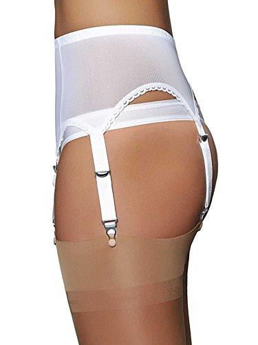 5250aa128 Premier Lingerie White Powermesh 6 Strap Suspender Belt (NDL61)  UK    Amazon.co.uk  Clothing