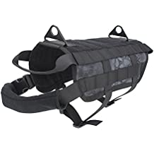 OUTRY Tactical Dog Training Harness MOLLE Vest with Pulling Handle, 4 Sizes Available for both Small and Large Dogs