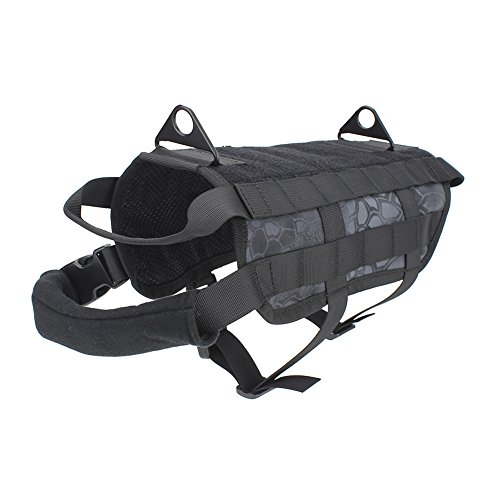 OUTRY Tactical Dog Vest Harness - MOLLE System with PALS Webbing (Typhon Black, L)