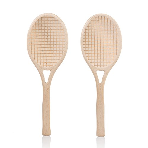 (SUCK UK SK SALADTEN1 Salad Servers | Novelty KITCHENWARE | Wooden Spoons | Tennis Racket Shaped|, 9.84 x 0.39 x 3.35 in in,)