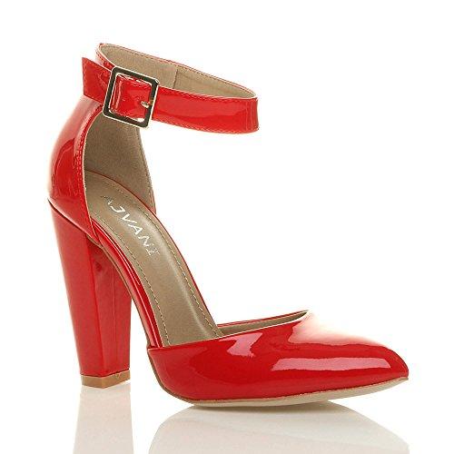 Boucle Lanière Escarpins Ajvani Femmes Large Chaussures Verni Rouge Pointu Talon Pointure Haute wW4IXq4