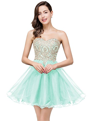 2016 Junior de Homecoming vestido brillantes oro floral corto vestidos del baile 411#Mint green