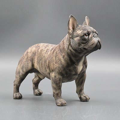 French Bulldog Sculpture | Hand-made and painted | Pet Portrait Dog Statue Figurine Memorial | French Bulldog Collectibles | French Bulldog Art (white $ Edit T19L20W9cm, brindle)