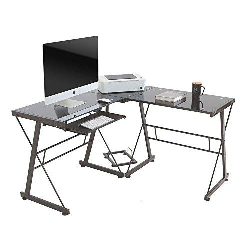 Monarch Pc Desktop Computer - beautifulwoman Workstation Home Office Black Computer Desk pc Glass Laptop Table l-Shape Corner