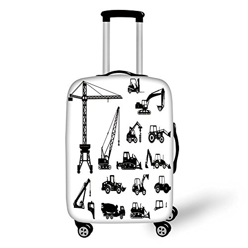 Travel Luggage Cover Suitcase Protector,Construction,Black Silhouettes Concrete Mixer Machines Industrial Set Trucks Tractors,Black White,for Travel