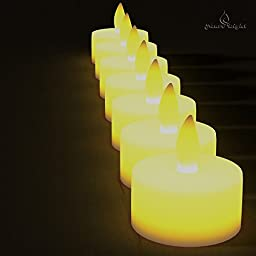 BEST FLAMELESS TEA LIGHTS(24 Pack)-Flameless Candles No Drips,No Mess-Bonus 6 Designer Decorating Bags-Battery Tea Lights for Wedding,Home Decor & Christmas-Yellow Flickering Flame Electric Led Candle