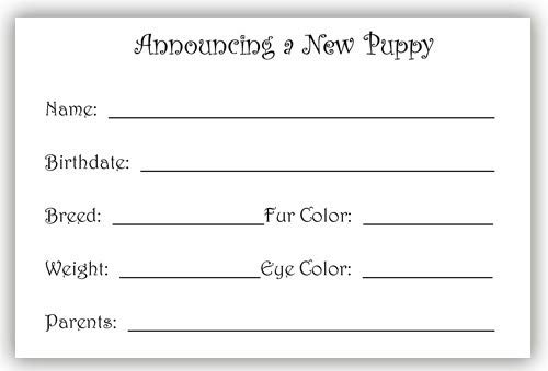 2 Boxes, Animal Pet Gifts, Puppy Announcement Cards