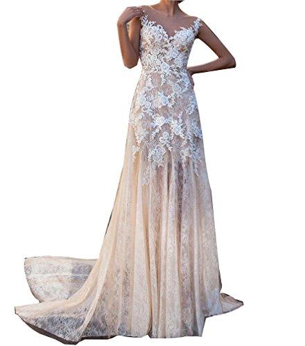 Champagne Lace Bridal Shop (Vivibridal Women's Long Illusion Bodice Lace Applique Mermaid Wedding Dress Bridal Gown Champagne US8)